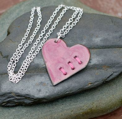 Custom Made Mended Broken Enamel Heart Pendant Necklace Copper Enameled Jewelry Sewn Pink