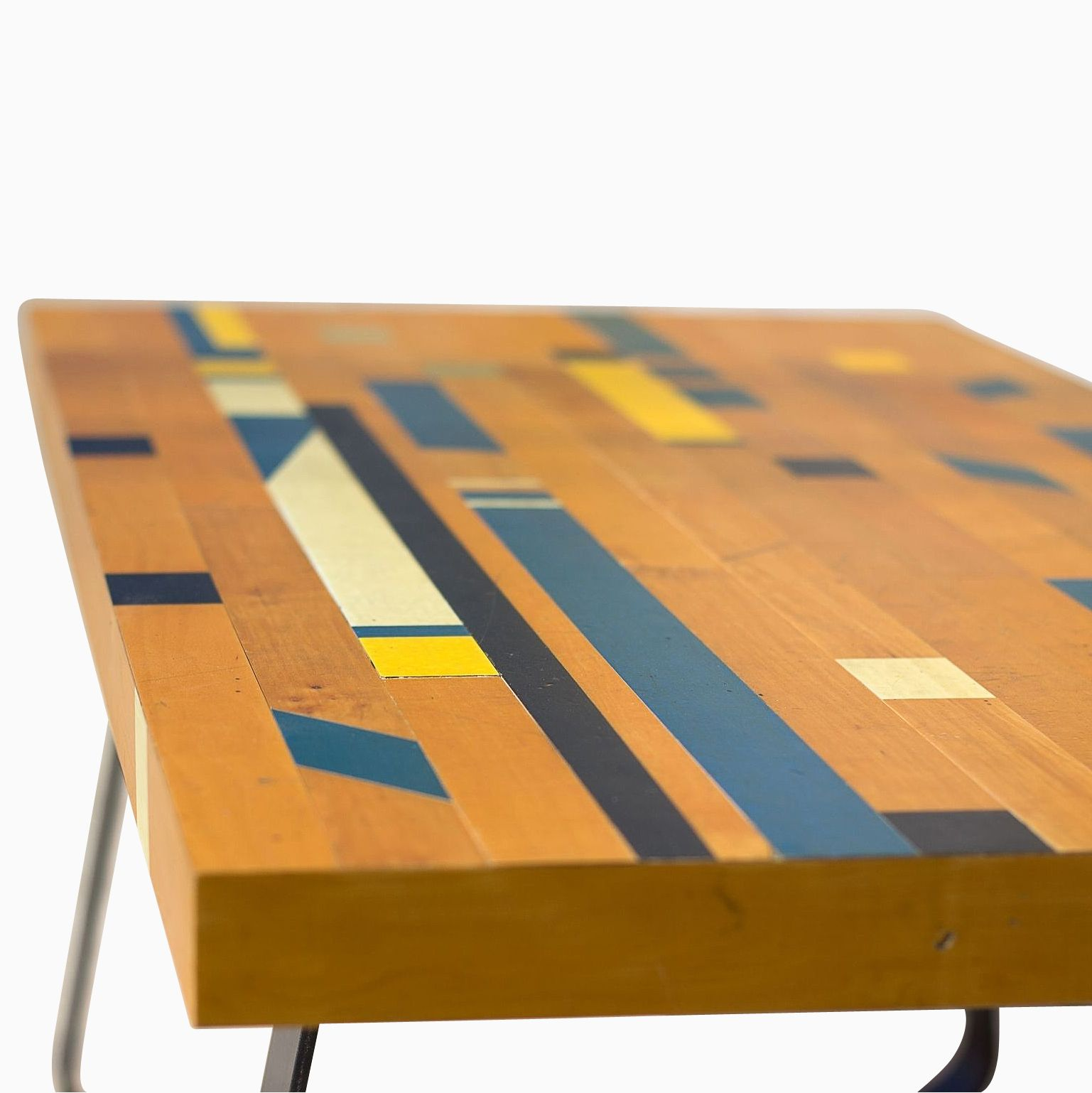 Custom Reclaimed Gym Floor Coffee Table by Deep Fried Design