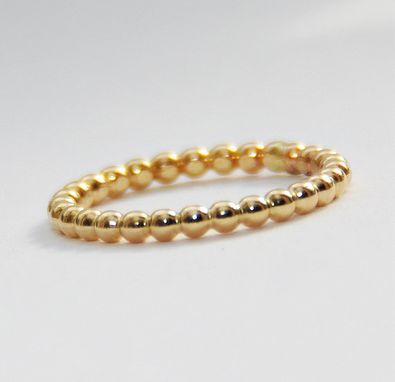 Custom Made 2mm Bold Stackable Yellow Gold Filled Beaded Ring, Handmade Gold Fill Dotted Stack Ring