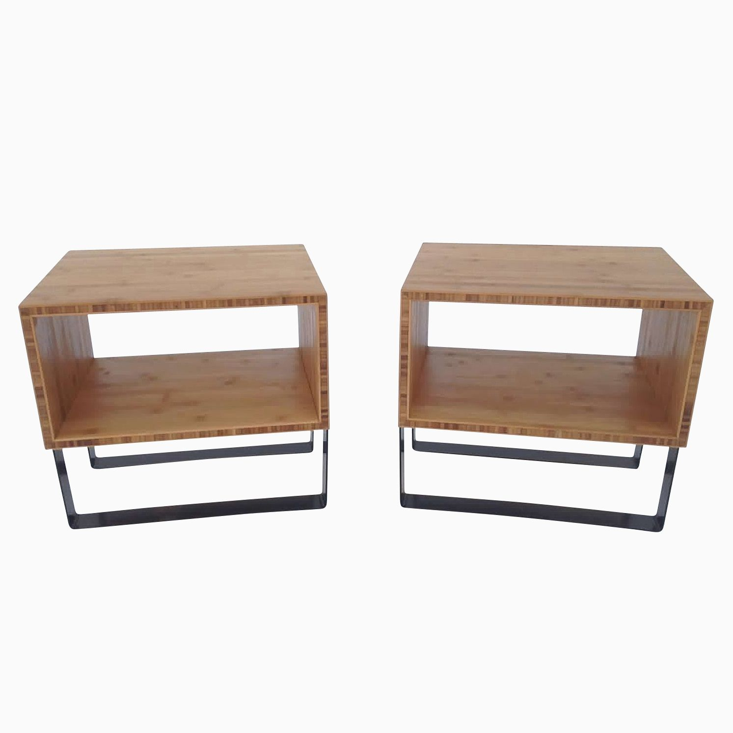 Buy a Custom Pair Open Bedside Tables Mid Century Modern