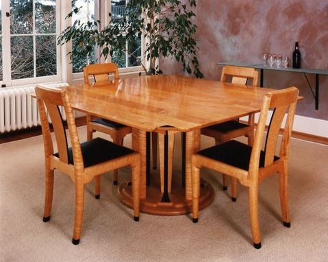 Custom Made Birdseye Maple And Ebony Dining Set
