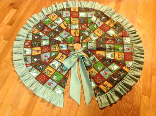 Custom Made Beautiful Reversible Christmas Tree Skirt With Coordinating Ruffle