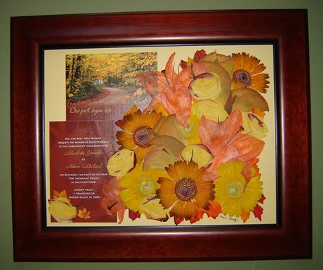 Custom Made Pressed Flower Art - Bridal Bouquet And Wedding Invitation