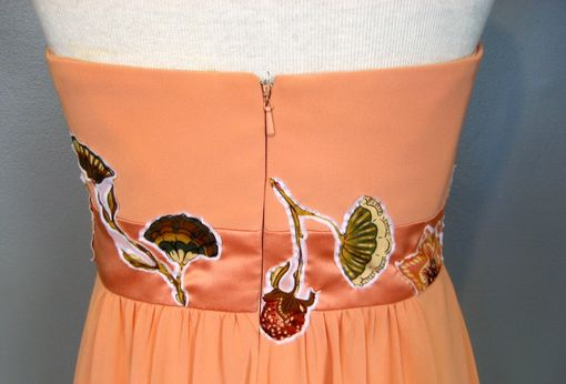Custom Made Daisy - Upcycled Orange Floral Prom Dress Or Alternative Wedding Dress