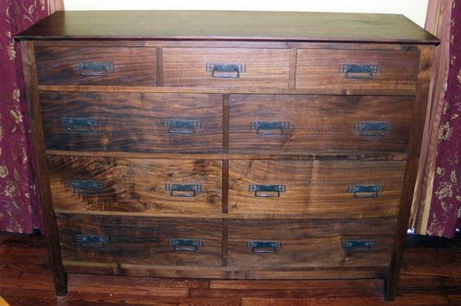Custom Made Figured Walnut 9 Drawer Dresser