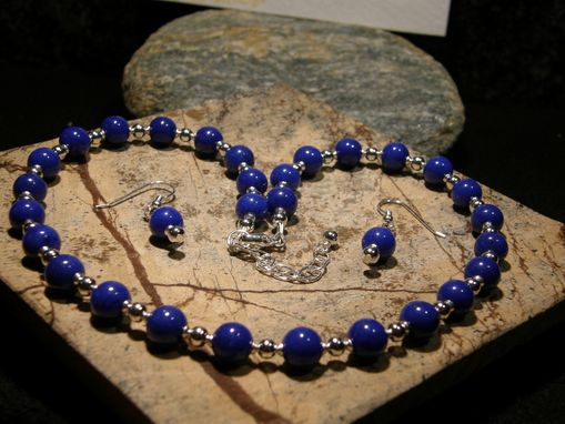 Custom Made Blue Jade And Silver Necklace And Earrings