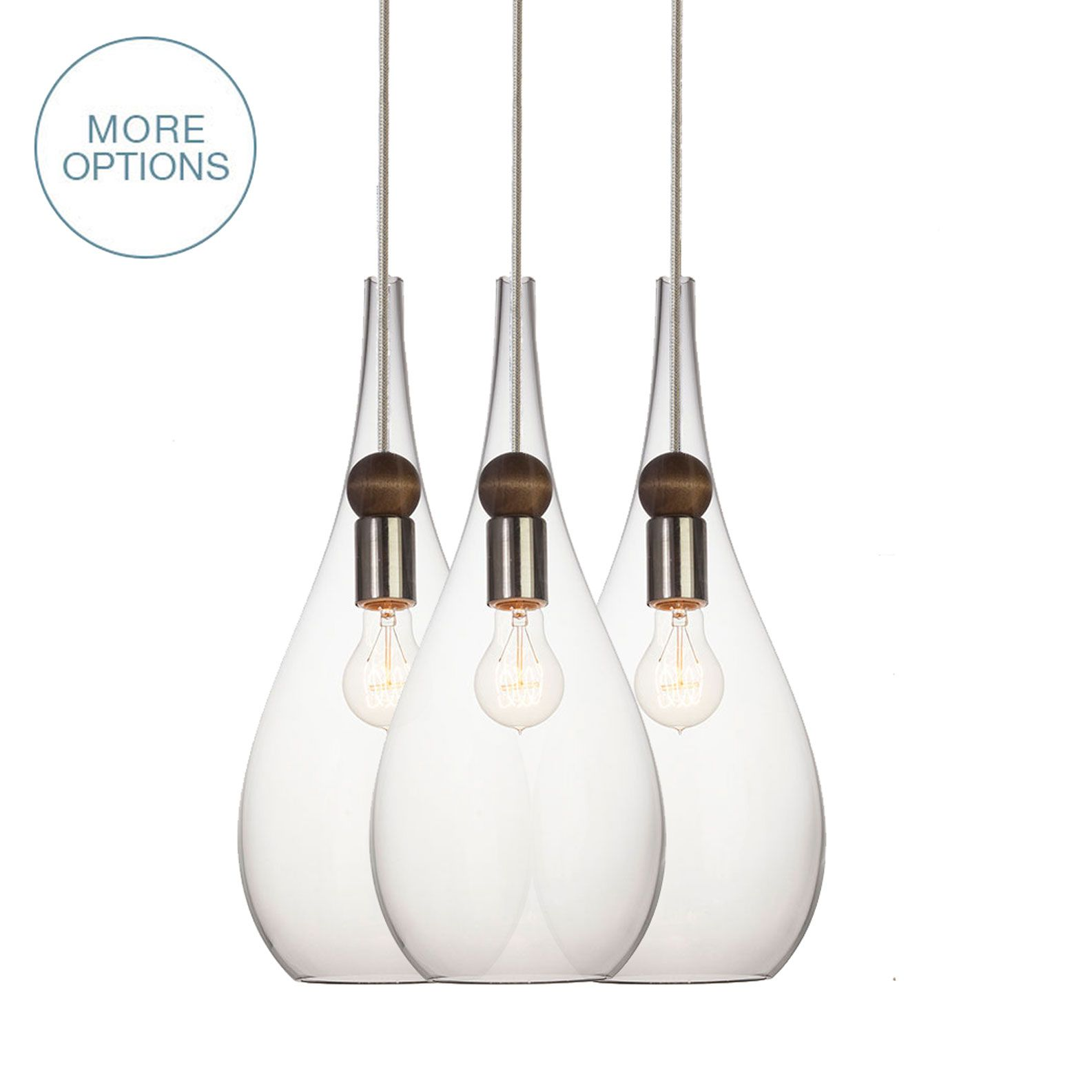 Hand Crafted Hand Blown Glass Drop & Wood 2 11 Pendant Light