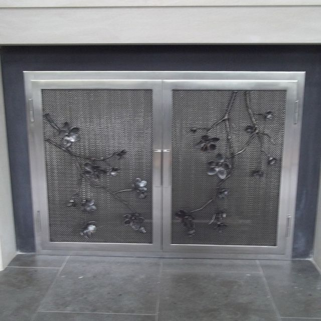 Custom Made Cherry Blossoms On Stainless Steel Fireplace Doors by ...