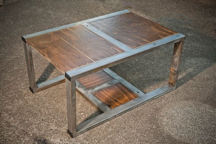 Custom Made Rustic Contemporary Coffee Table From Recycled Materials