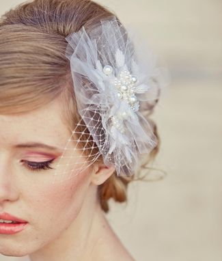 Custom Made Net And Pearl Wedding Hair Comb