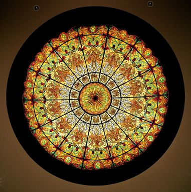 Custom Made Stained Glass Dome Ceiling 16' X 4' In Hand Painted And Opalescent Glass. No Skylight Required