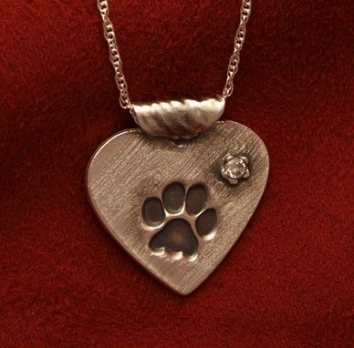 Custom Made Paw On Heart Necklace With Accent Stone - Sm