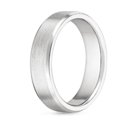 Custom Made 18kt White Gold Beveled Edge Matte Wedding Ring