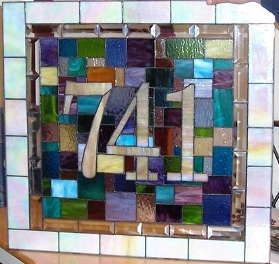 Custom Made Stained Glass Door Panel - House Number & Colorful Quilt Design (Am-12)