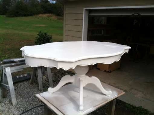 Custom Made Scalloped Dining Table With Drop Acorn Pendant