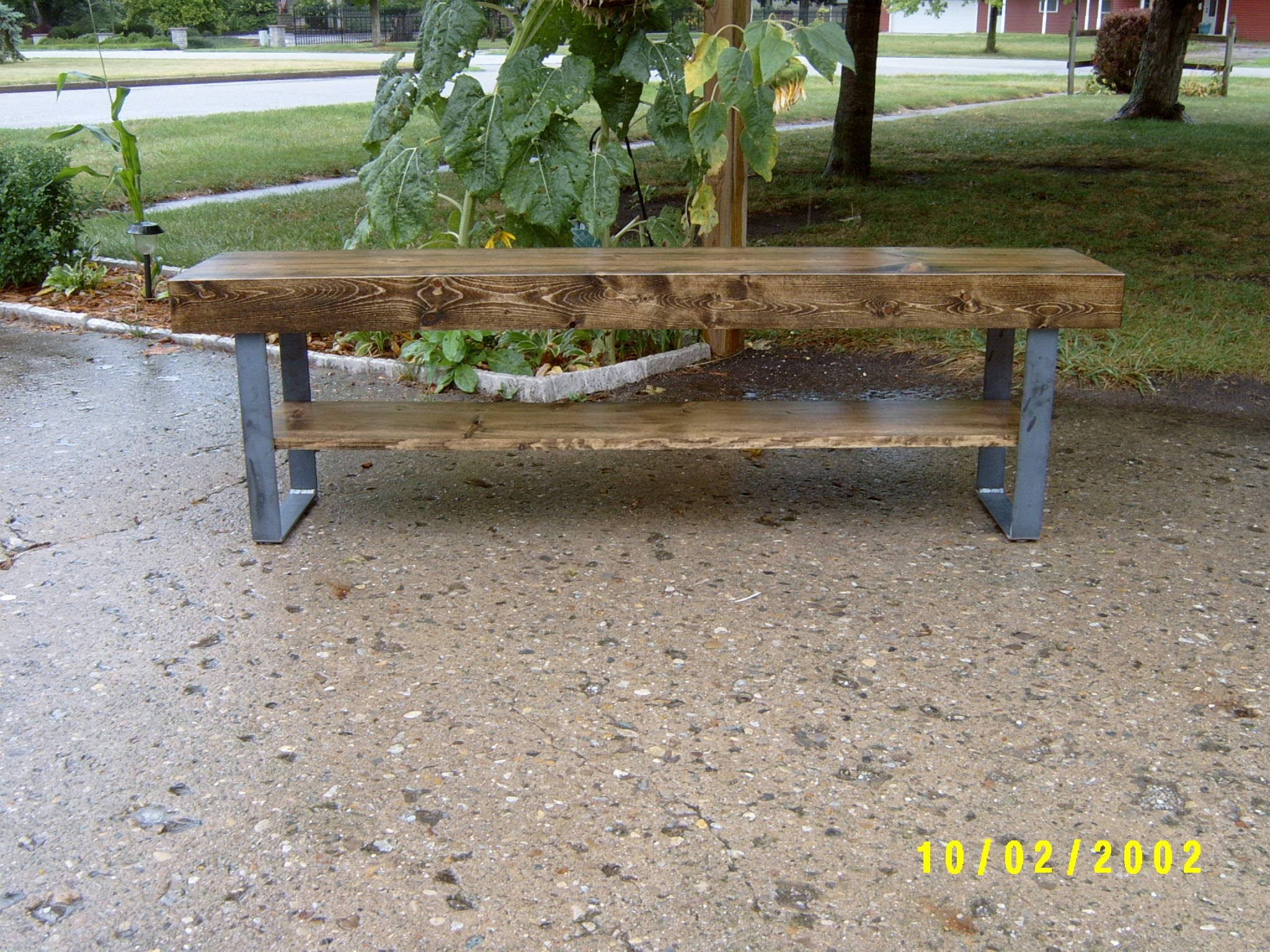 Custom Made Farmhouse Bench With Steel Legs And A Shelve 4 Coffee Table