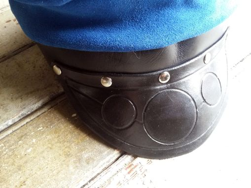 Custom Made Blue Leather Motorcycle Style Hat