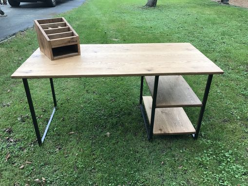 Custom Made Industrial Oak Desk