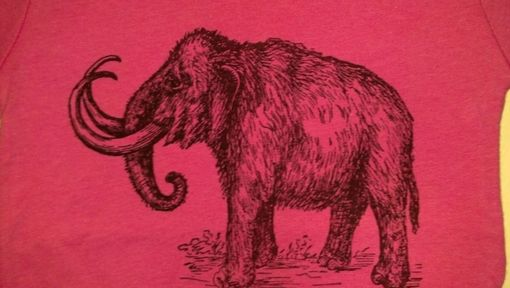 Hand Crafted Sale Woolly Mammoth Screen Printed T Shirt