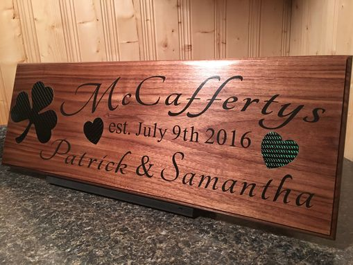 Custom Made Personalized Name Sign Custom Carbon Fiber Inlay Carved Wood Plaque
