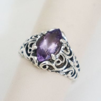 Custom Made Vintage Amethyst Filigree Sterling Silver Ring
