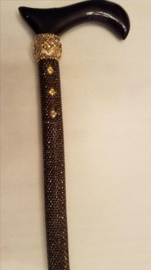 Custom Made Rhinestone Cane - All Hand Placed Swarovski Crystals - Custom Brass Collar