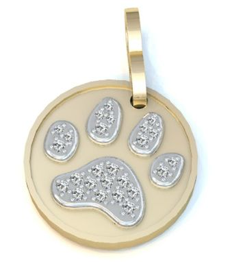Custom Made Dog Print Diamond And Gold Pendant
