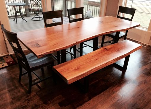 Custom Made Live Edge Dining Room Table And Bench | White Oak