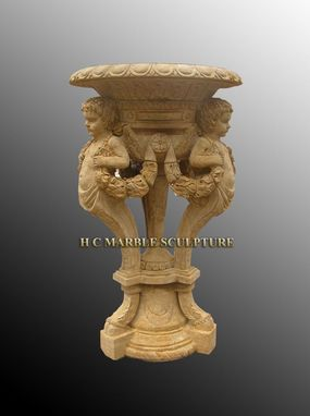 Custom Made Antique Stone Planters With Cherub Carving