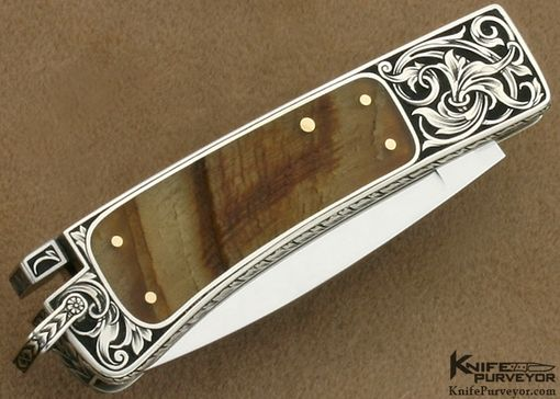 Custom Made Ron Lake Custom Knives Tim George Engraved Silver Interframe With Ram's Horn Watch Pocket Tail Lock