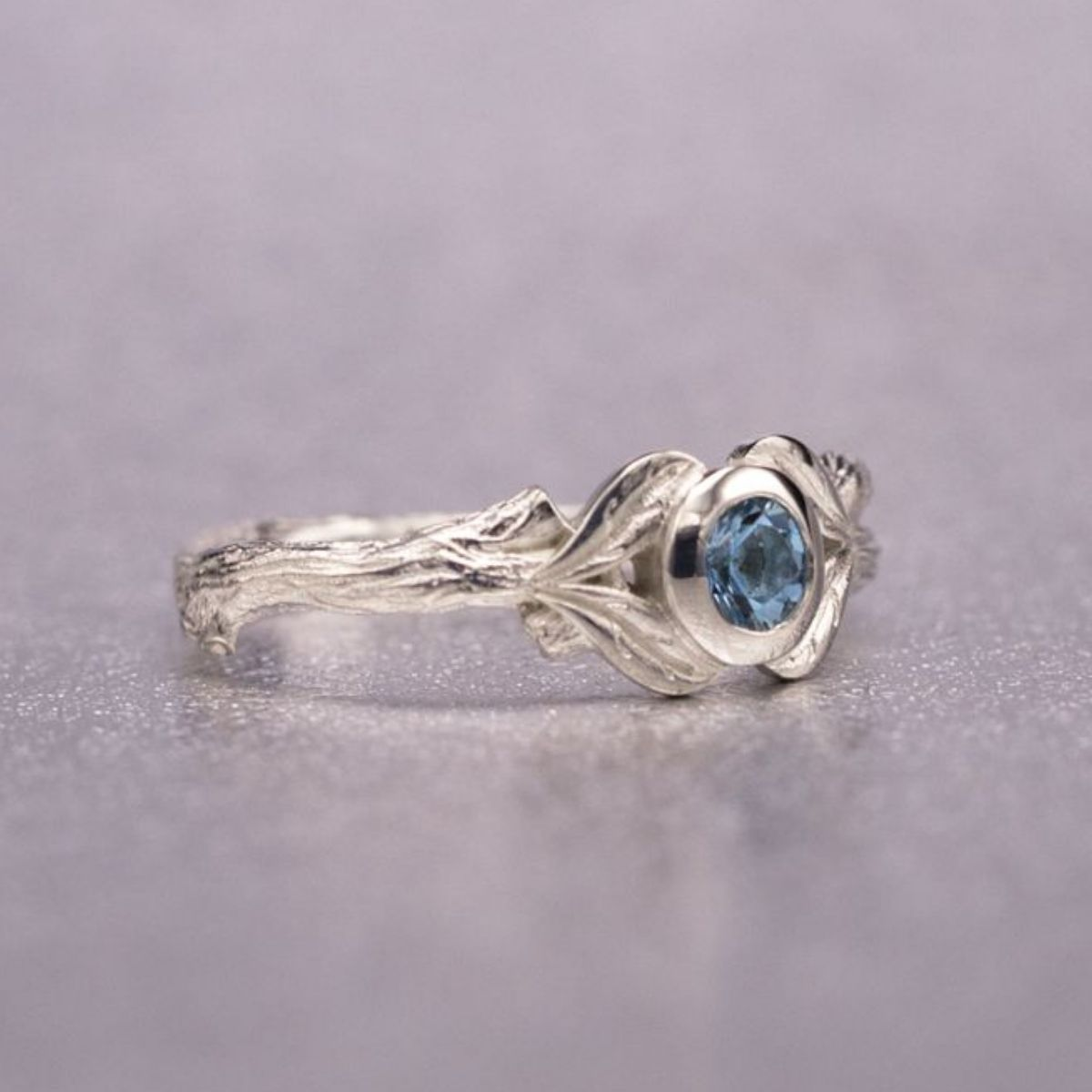 aqua harriet kelsall engagement diamond palladium ring and aquamarine sapphire rings