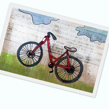 Custom Made Bike Print- Red Bike Is Red - Fixie Bike - Beach Cruiser - 4x6 Print