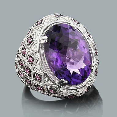 Custom Made Large Amethyst Cocktail Ring With Diamonds