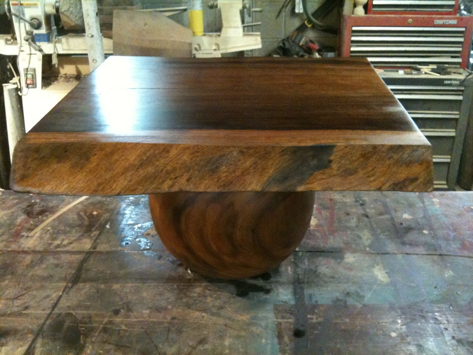 Custom Made Live Edge Table With Turned Ball Base by Brenda Hall