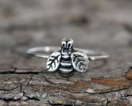 Custom Made Dainty Silver Bumble Bee Ring - $48