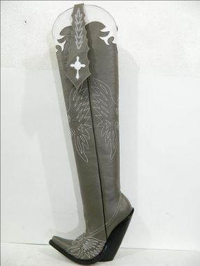Custom Made Aster Blue All Cowboy Boots White Decorative Stitching And Inlay