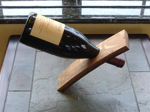 Custom Made Wine Barrel Stave Balancing Bottle Holder
