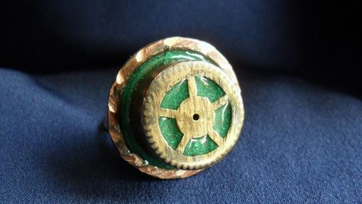 Custom Made Brass And Copper Pocket Watch Gear Ring With Malachite Inlay