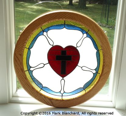 Custom Made Luther Rose Stained Glass Window Panel