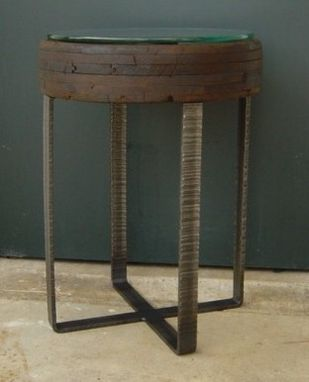 Custom Made End Table - Factory Cart Wheel