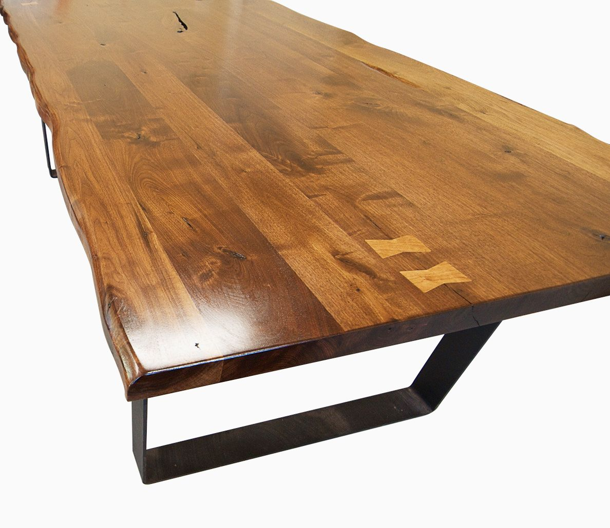 Buy a Custom Made Live Edge Walnut Dining Table With Flat Iron