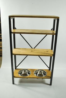 Custom Made Industrial Bookcase, Adjustable Shelves, Pet Feeding Station, Shelving Organizer, Pet Furniture