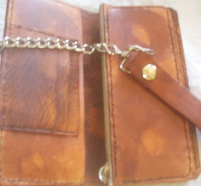 Custom Made Custom Leather Biker Wallet With Star And Eagle Head Design In Weathered Color