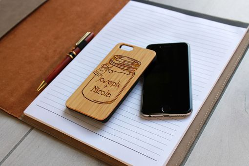 Custom Made Custom Engraved Wooden Iphone 6 Case --Ip6-Bam-Joseph + Nicole Mason Jar