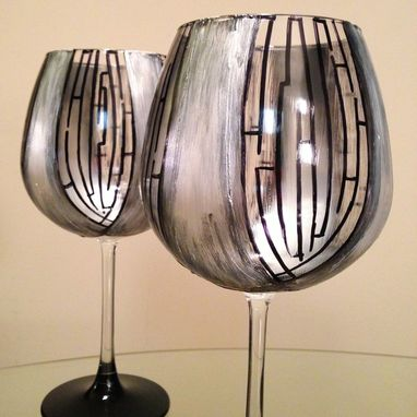 Custom Made Elegant, Hand Painted Red Wine Glasses