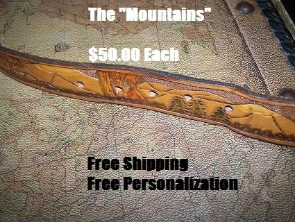 "Custom Made Hand Tooled Leather Belt 1-1/4"" With ""Mountain"" Design"