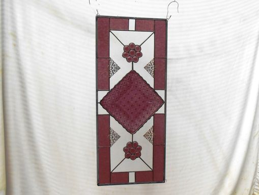 Custom Made Antique Stained Glass Window Panel, Eapg Depression Glass Stained Glass Plate