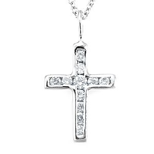 Custom Made Diamond Cross Pendant In 14k White Gold, Cross Pendant, Religious Pendant