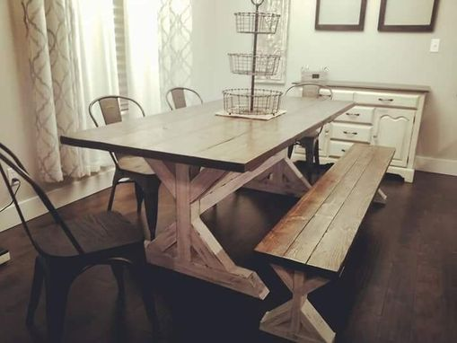 Custom Made Fancy X-Leg, Rustic Kitchen Table