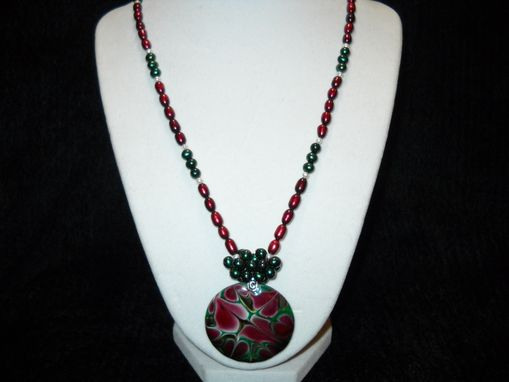 Custom Made Mauve And Green Pearl Necklace With Pendant
